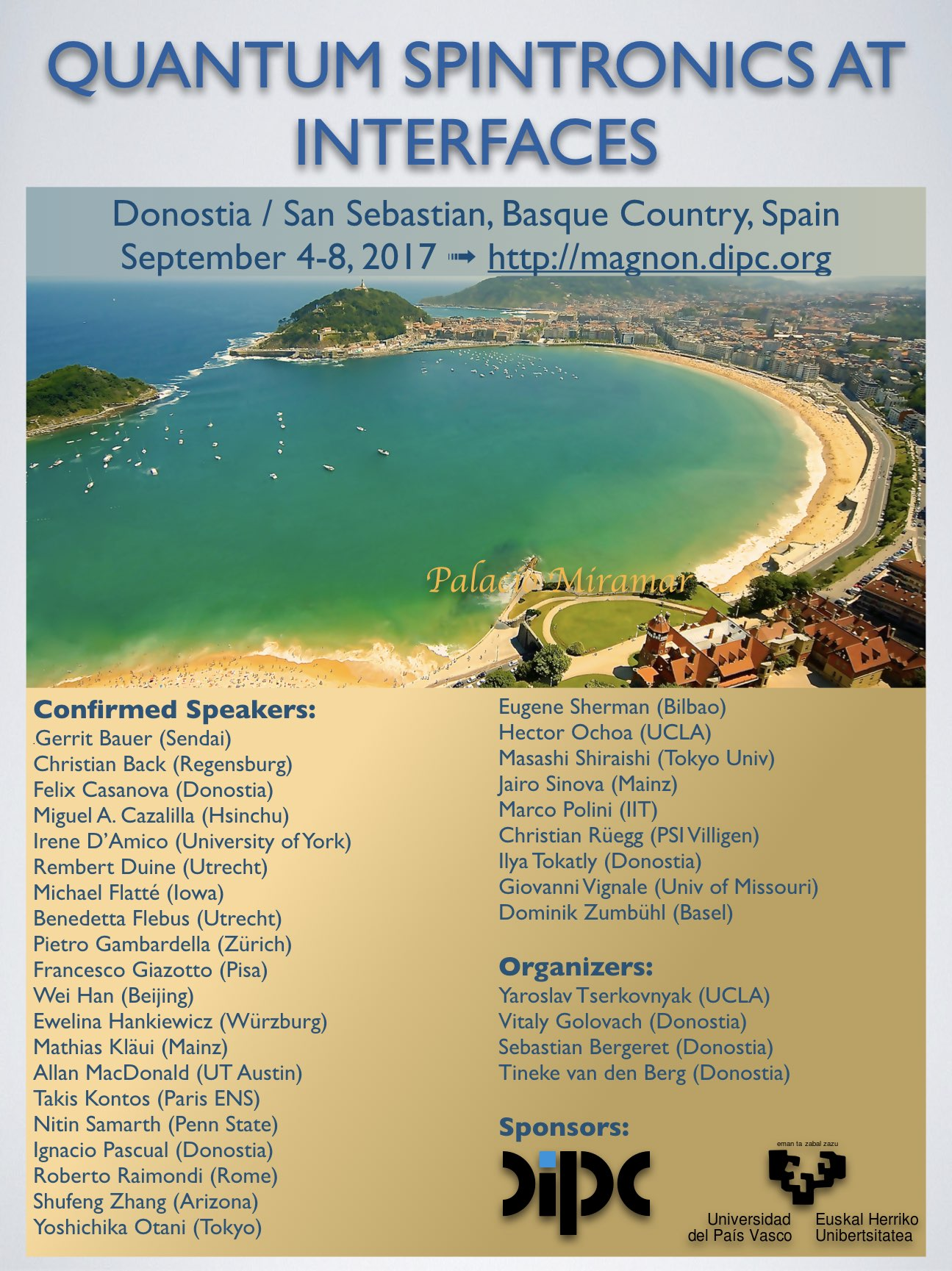 Quantum Spintronics at Interfaces, Donostia / San Sebastian, September 4-8, 2017